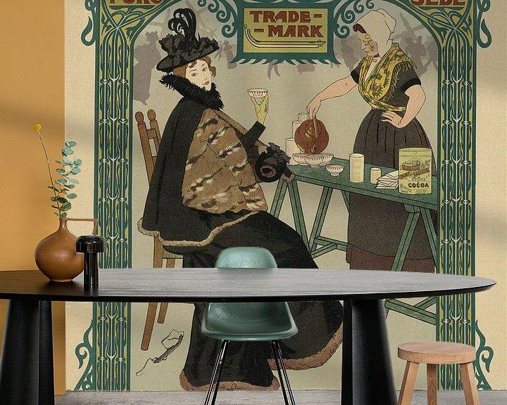 Sfeerimpressie behang: Nederlandse schaatscacao. Erven Caspar Flick, Johann Georg van Caspel van Vintage Afbeeldingen