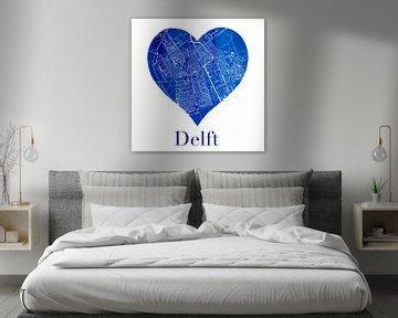 Delft | Stadskaart in een Delftsblauwe hart
