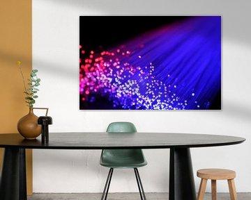 Lampes à fibres optiques en bleu et rouge sur Sjoerd van der Wal