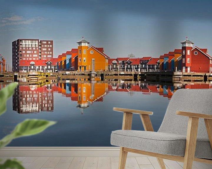 Beispiel fototapete: Spiegelungen der Häuser im Reitdiephaven bei Groningen von Frans Lemmens