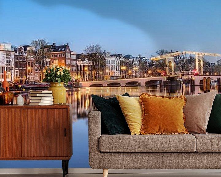 Impression: Maisons de canal sur l'Amstel à Amsterdam sur Frans Lemmens