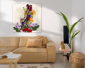 Steampunk Alte Geige mit Blumen von Patricia Piotrak