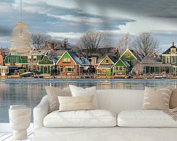 Beispiel fototapete: Panorama der Zaan-Häuser entlang der Zaan von Frans Lemmens