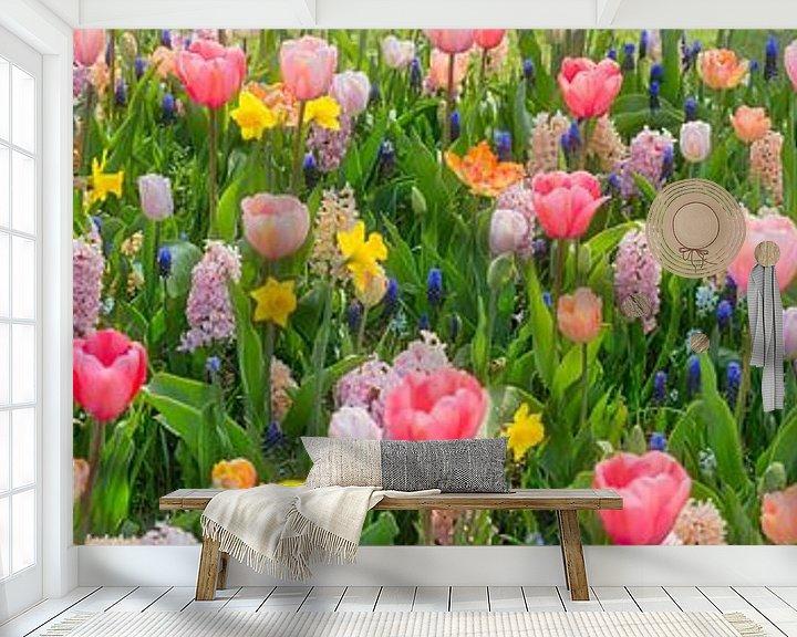 Beispiel fototapete: Panorama der Blumenpracht im Keukenhof Blumengarten von Frans Lemmens