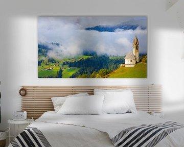Kirche St. Barbara in Tolpei, Alta Badia, Dolomiten, Südtirol, Norditalien