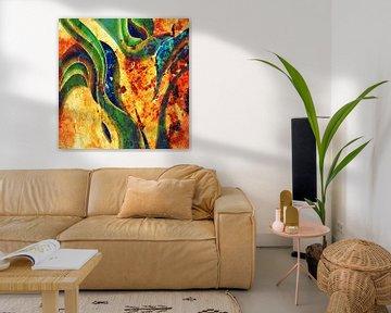 peinture abstraite jaune et verte sur Patricia Piotrak