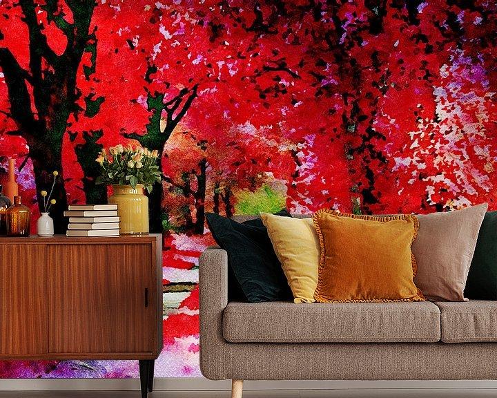 Beispiel fototapete: Der Rote Herbstwald - Aquarellmalerei von Patricia Piotrak