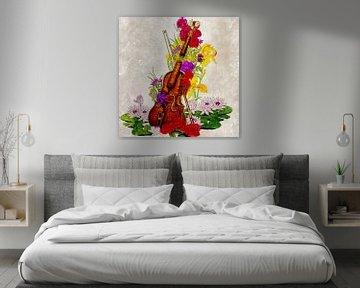 Kaputte Geige voller Blumen