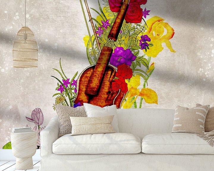 Beispiel fototapete: Kaputte Geige voller Blumen von Patricia Piotrak