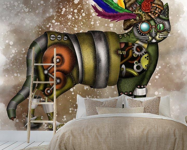 Beispiel fototapete: Steampunk Katze mit Hut von Patricia Piotrak