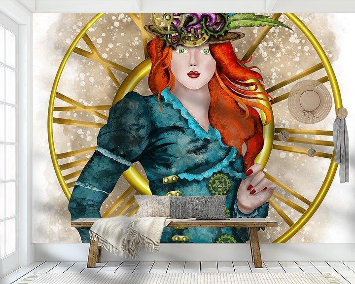 Beispiel fototapete: Steampunk - Viktorianische Lady mit Hut von Patricia Piotrak