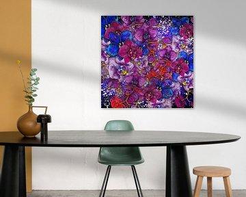 Blumenmotiv - Bunte Orchideen auf schwarzem Hintergrund von Patricia Piotrak