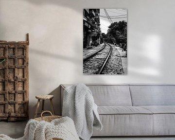 Spoorlijn door Hanoi van Dokra Fotografie