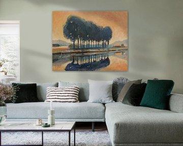 Bomen langs een kanaal van Nop Briex