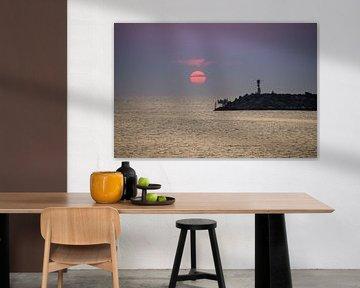 Sonnenuntergang an der Mole in Hvide Sande von Danny Tchi Photography