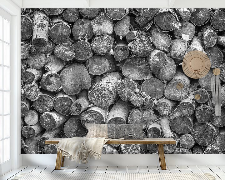 Beispiel fototapete: Stapel mit gefällten Bäumen von Martijn Tilroe