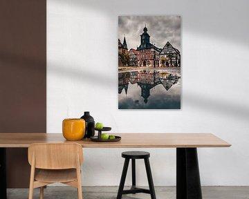 Heppenheim in Deutschland. Der Schöne Marktplatz mit seinen Fachwerkhäusern und dem tollen Rathaus i von Fotos by Jan Wehnert