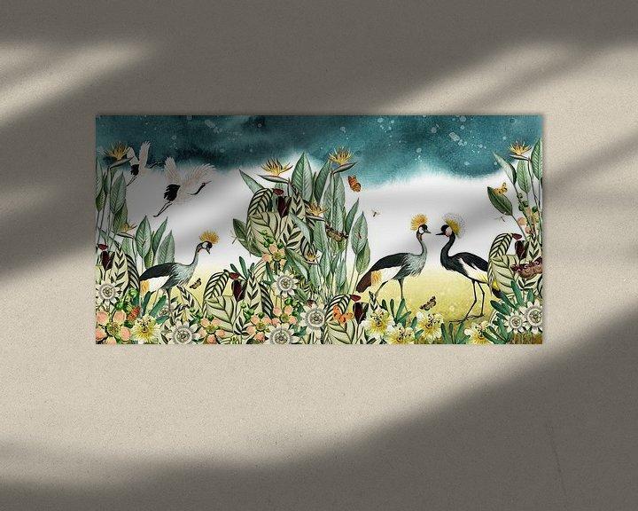 Beispiel: Kraniche mit tropischen Pflanzen, botanisch und illustrativ von Studio POPPY