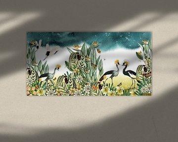 Kraniche mit tropischen Pflanzen, botanisch und illustrativ von Studio POPPY
