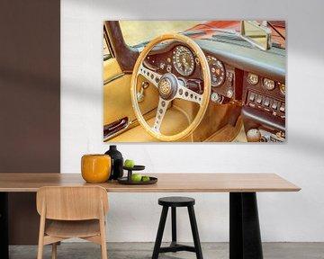 Jaguar E-Type Roadster intérieur de voiture de sport d'époque sur Sjoerd van der Wal