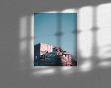 Zonsondergang op Haarlemse daken van Mick van Hesteren