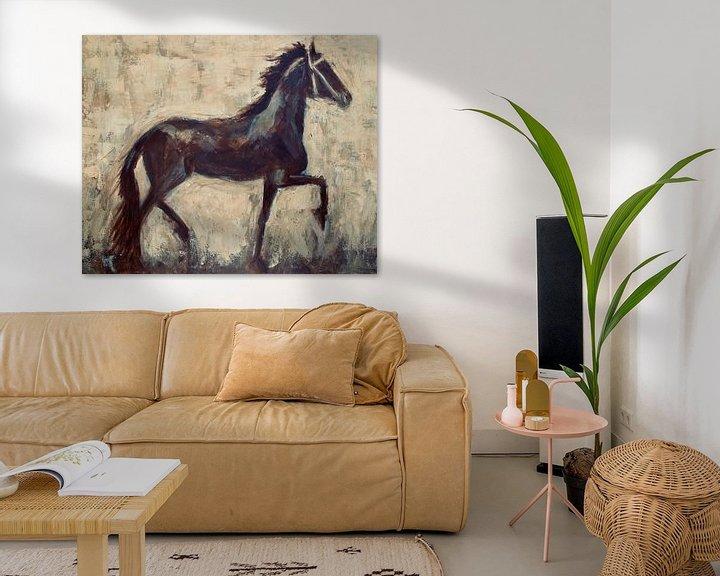 Impression: Une peinture abstraite d'un cheval frison sur Mieke Daenen