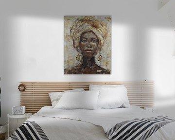 Abstraktes Gemälde einer afrikanischen Frau von Mieke Daenen
