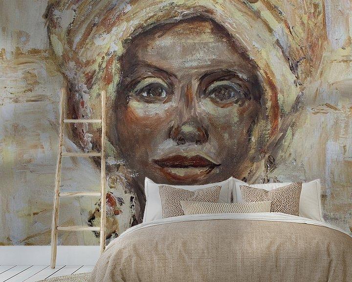 Impression: Peinture abstraite d'une femme africaine sur Mieke Daenen