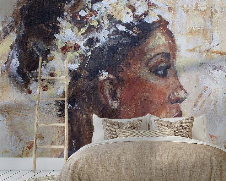 Beispiel fototapete: Abstraktes Gemälde einer afrikanischen Frau von Mieke Daenen