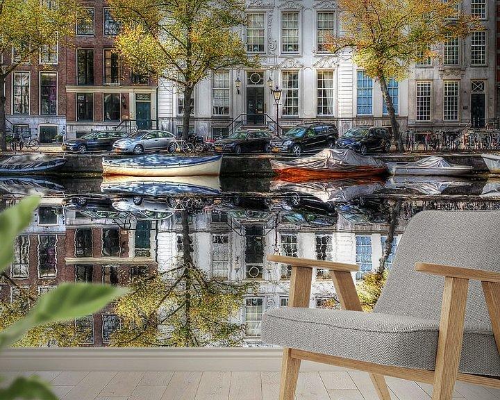 Beispiel fototapete: Wasserspiegelung, Amsterdamer Wassergraben, Niederlande von Maarten Kost