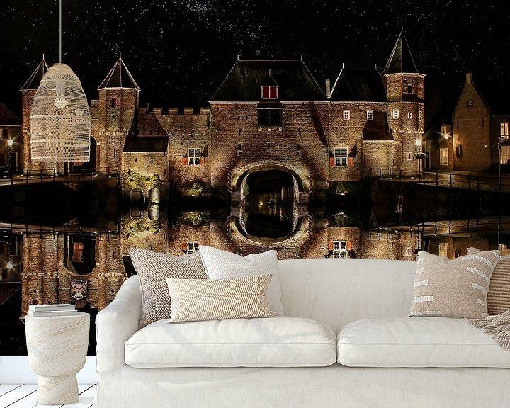 Beispiel fototapete: Wasserspiegelung, Koppel-Tor, Amersfoort, Niederlande von Maarten Kost