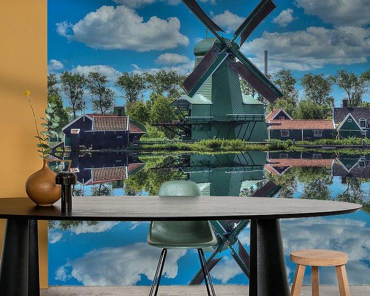 Beispiel fototapete: Wasserreflexion, Zaanse Schans, Niederlande von Maarten Kost