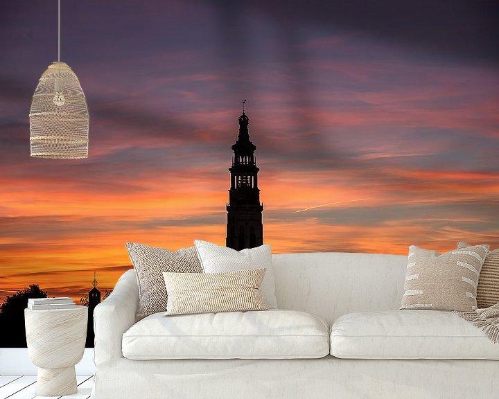 Sfeerimpressie behang: Silhouet Middelburg bij Zonsondergang van Cornelius Fontaine