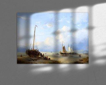 Fischer mit gestrandeten Booten, Andreas Schelfhout