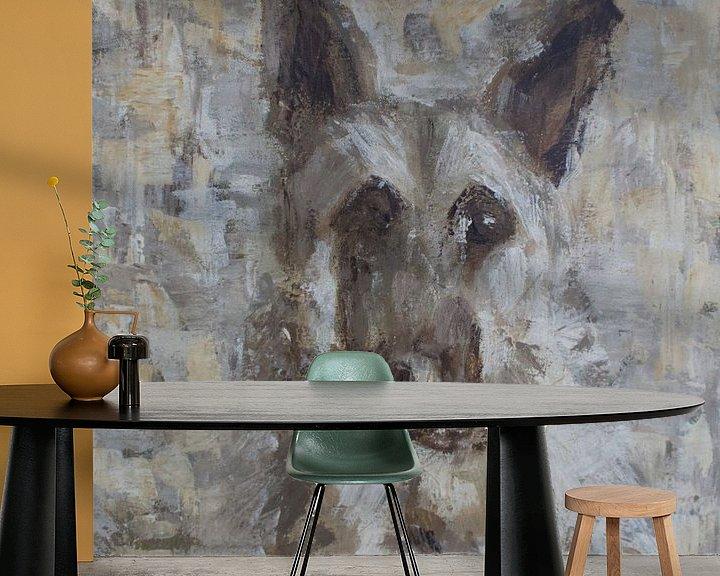 Beispiel fototapete: Ein abstraktes Gemälde eines Schäferhundes von Mieke Daenen