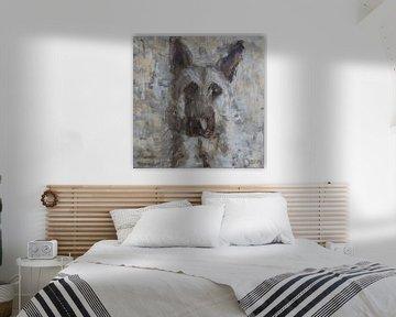 Ein abstraktes Gemälde eines Schäferhundes von Mieke Daenen