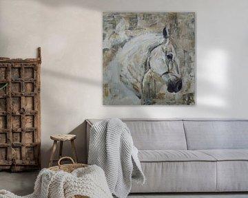 ein abstraktes Bild eines Pferdes von Mieke Daenen