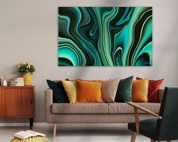 Abstrakte Kunst - Fluid Painting Türkis und Grün Muster von Patricia Piotrak
