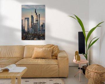 Frakfurt in zoom, prachtig uitzicht op de skyline van Frankfurt van Fotos by Jan Wehnert