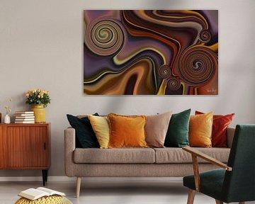 Abstrakte Kunst - Fluid Painting Braun Orange von Patricia Piotrak