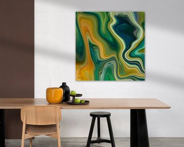 Abstrakte Kunst - Fluid Painting Grün und Orange von Patricia Piotrak