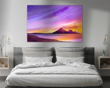 Schilderij van een vredige landschap