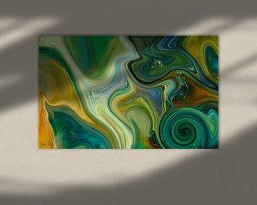 Abstrakte Kunst - Fluid Painting in Grüntönen von Patricia Piotrak