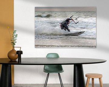Surfer op de Noordzee te Oostende van didier de borle