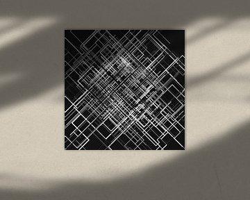 Abstraktes Linien-Netz 3 schwarzweiß von Jörg Hausmann