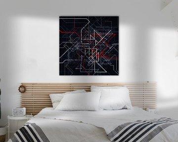 Abstraktes Linien-Netz 2 farbig