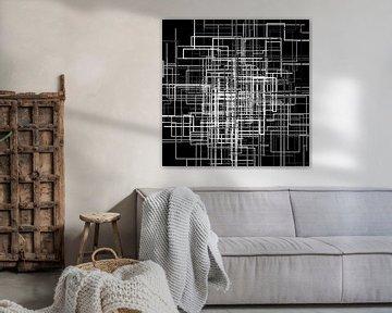 Abstraktes Linien-Netz 1 schwarzweiß von Jörg Hausmann