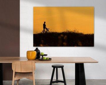 Silhouet van een fietser die een pauze neemt van Frank Herrmann