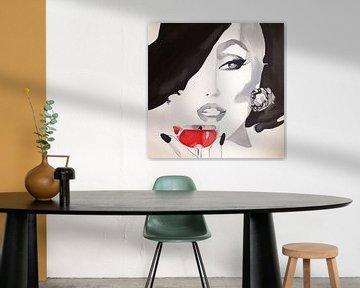 Vogue-Retro-Glamour-Vintage-Cocktail von Helia Tayebi Art