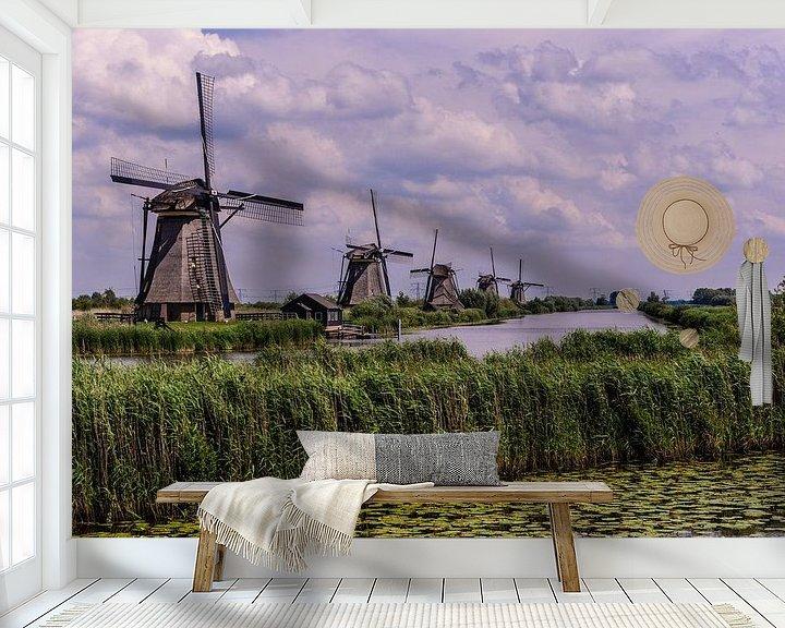 Sfeerimpressie behang: Windmills in Holland van Brian Morgan